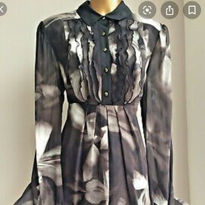 Ted Baker pleated collard silk dress 3